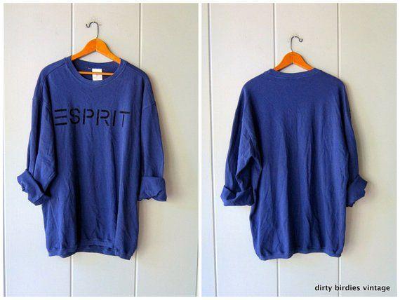 760f49ac98d05 80s ESPRIT Sweatshirt Slouchy Oversized Blue Sweatshirt ATHLETICS Sports  Sporty Pullover Work Out Grunge Shirt Womens Large XL