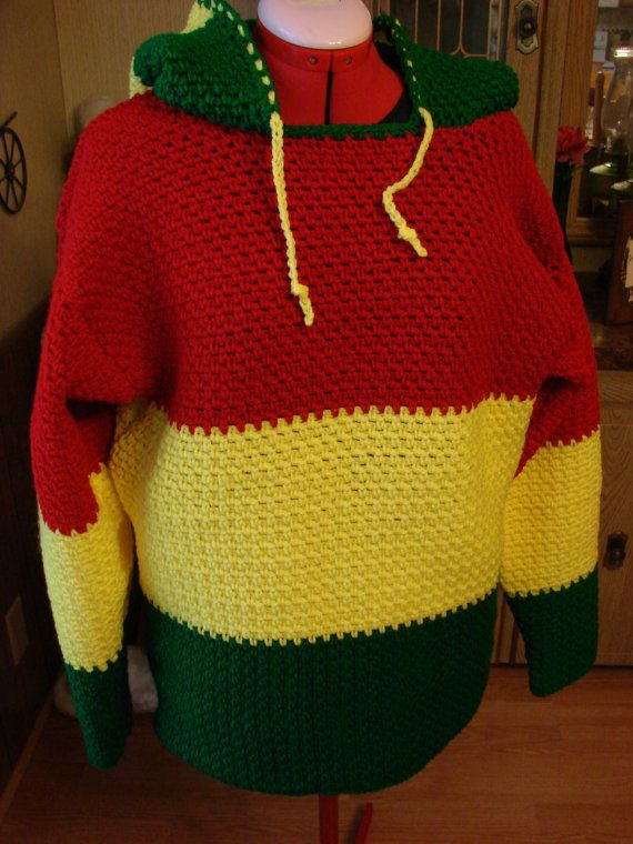 Crochet Hooded Mens Red, Yellow and Green Sweater Made to Order Sm ...
