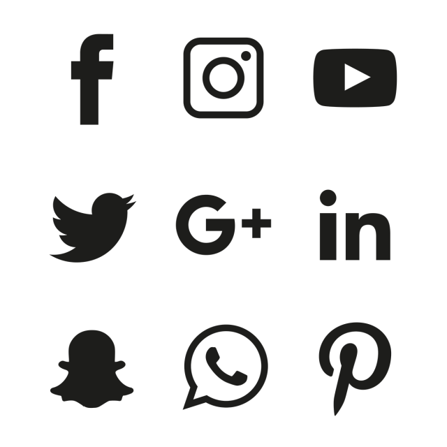 Social Media Black Icons Set, Social, Media, Icon PNG and