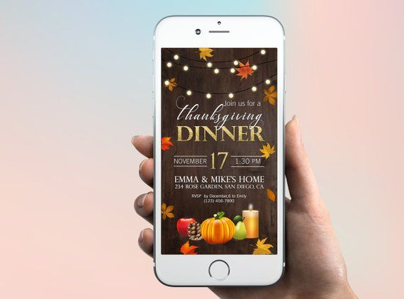 thanksgiving dinner electronic invitation with pumpkin autumn