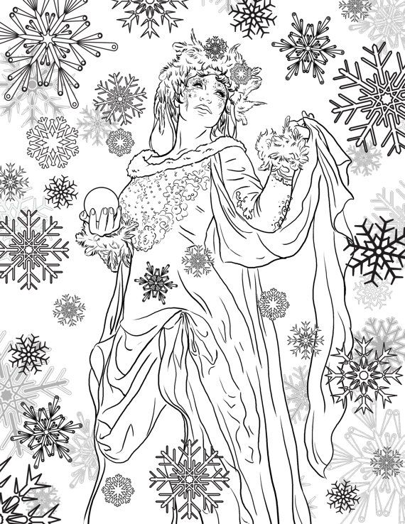 Snow Queen Coloring Page Coloring Page For Adults Coloring Pages Snow Queen Christmas Coloring Pages