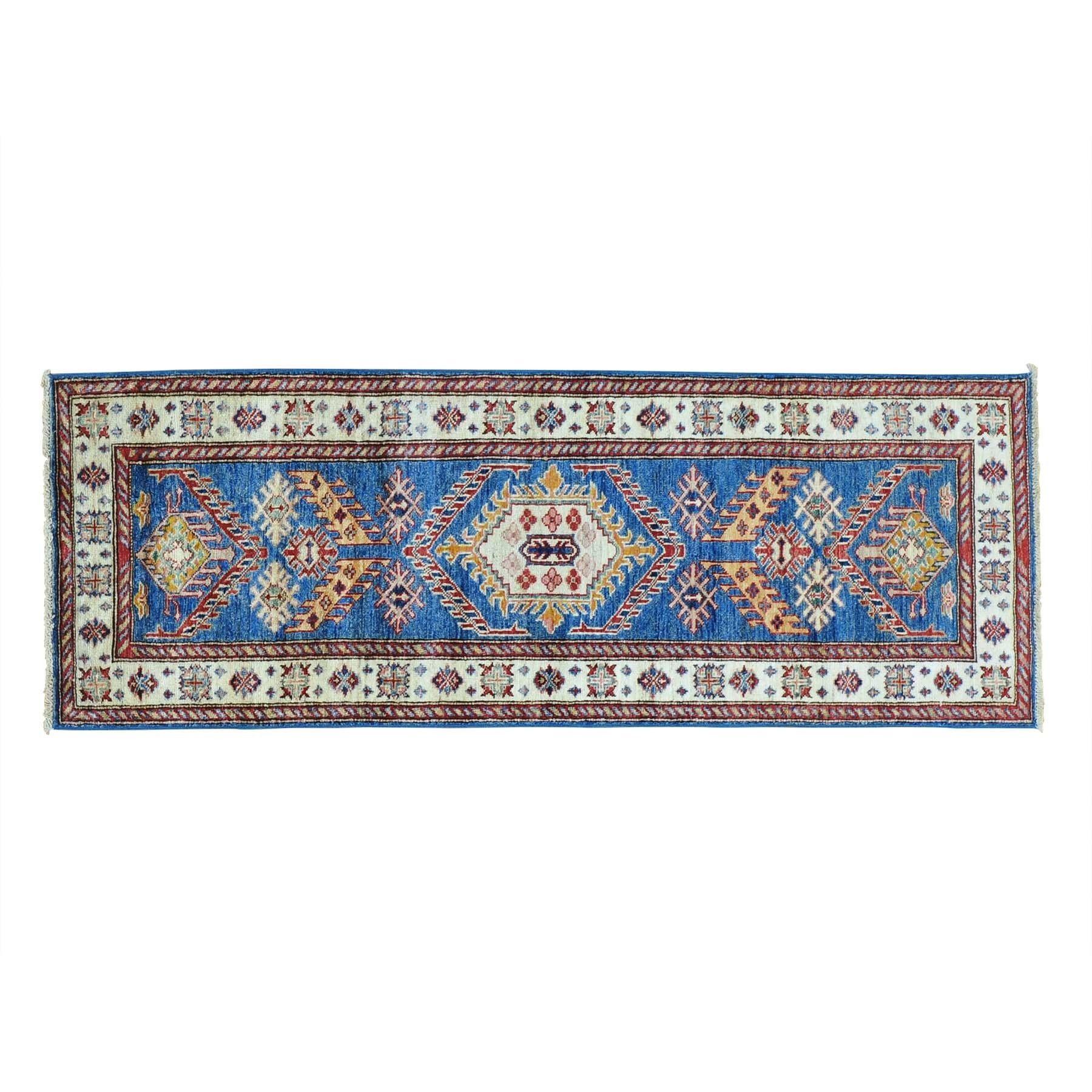 Tribal Design Super Kazak Handmade Runner Rug