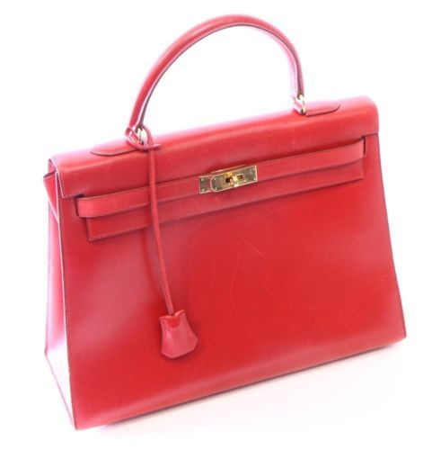 Hermes 35cm Rouge Vif Calf Box Leather Sellier Kelly Bag W  Gold Hardware  in Clothing 759e895ff