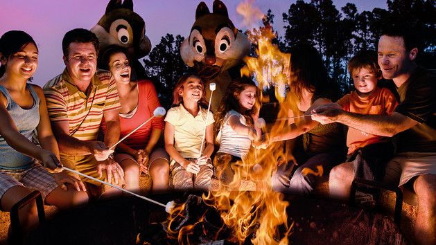Roast marshmallows at Fort Wilderness campfire