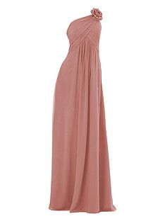 Plated Chiffon Dress with Rose Details