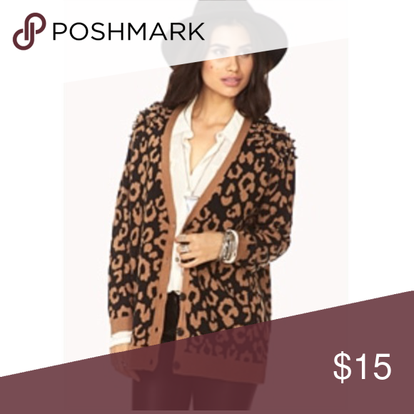 Forever 21 Studded Shoulder Cheetah Cardigan | Cheetah cardigan ...