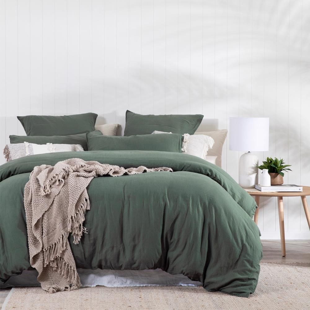 Washed Linen Look Dark Green Quilt Cover Set In 2020 Green Bedding Bedroom Bedroom Comforter Sets Green And White Bedroom