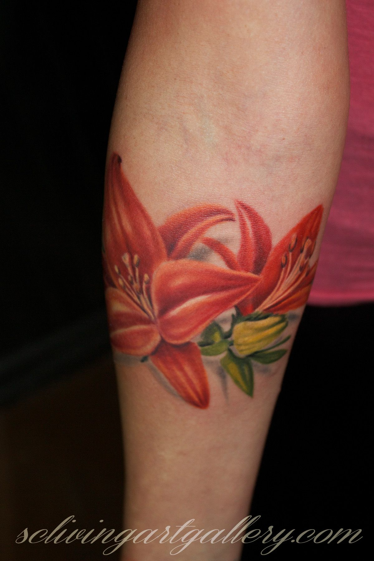 Realistic Lily Flower Tattoo
