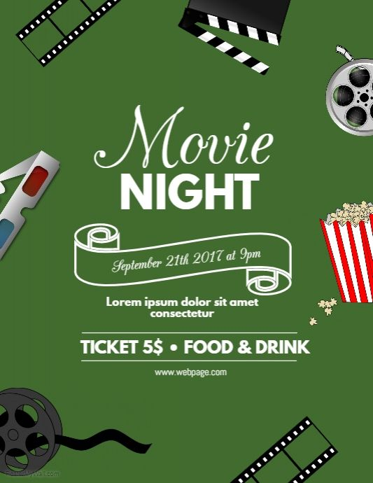 Movie Night Flyer Template  Postermywall  Movie Poster Template