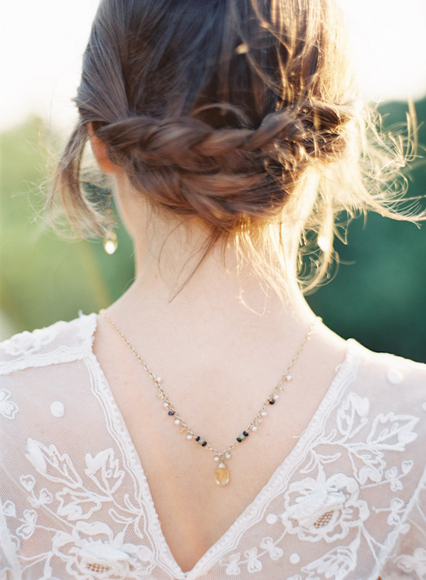 Delicate Provence Sunrise Wedding Ideas via oncewed.com. Wedding hair- MOH