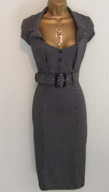 Jane Norman Grey Check Bodycon Pencil 50s Miss Office Work Galaxy Dress Size 14 Galaxy Dress Dresses Size 14 Dresses