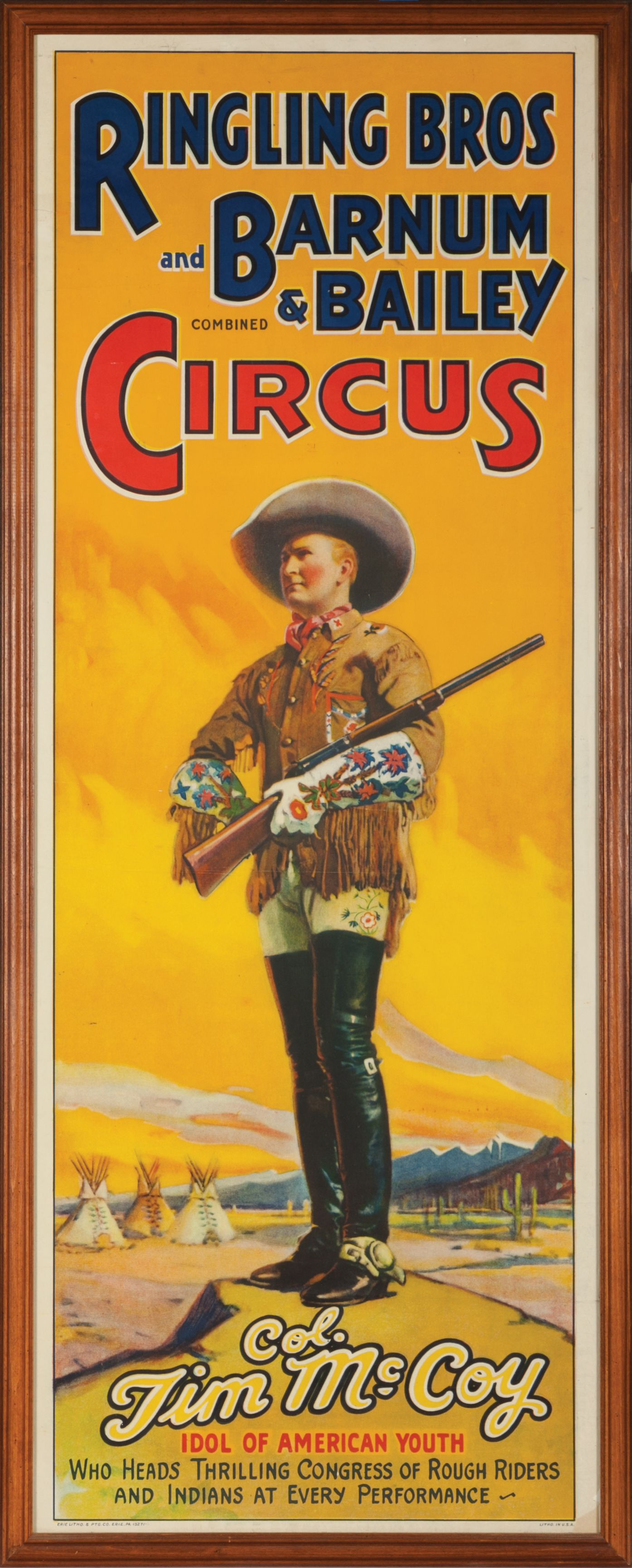 Original lithograph poster featuring Tom Mix for Ringling Bros ...