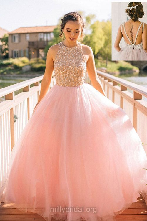 Princess Prom Dresses Ball Gown, Pink Prom Dresses Long, 2018 Scoop ...