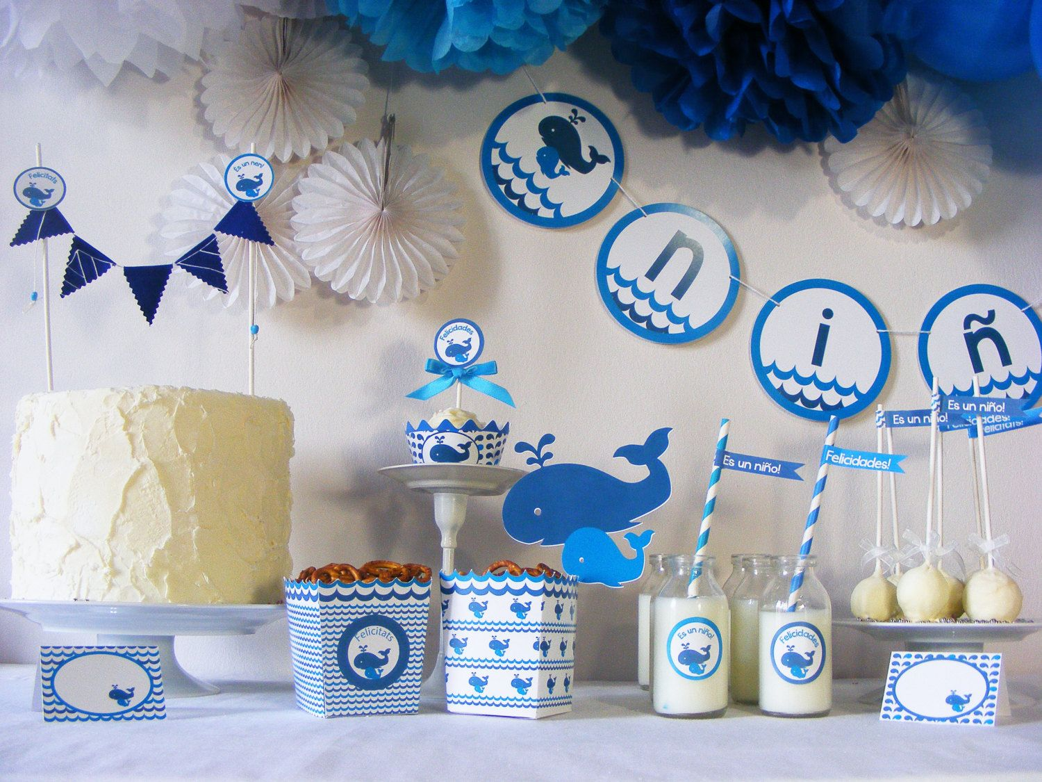 Kit de fiesta baby shower ballenas gender reveal party - Fiesta baby shower nina ...