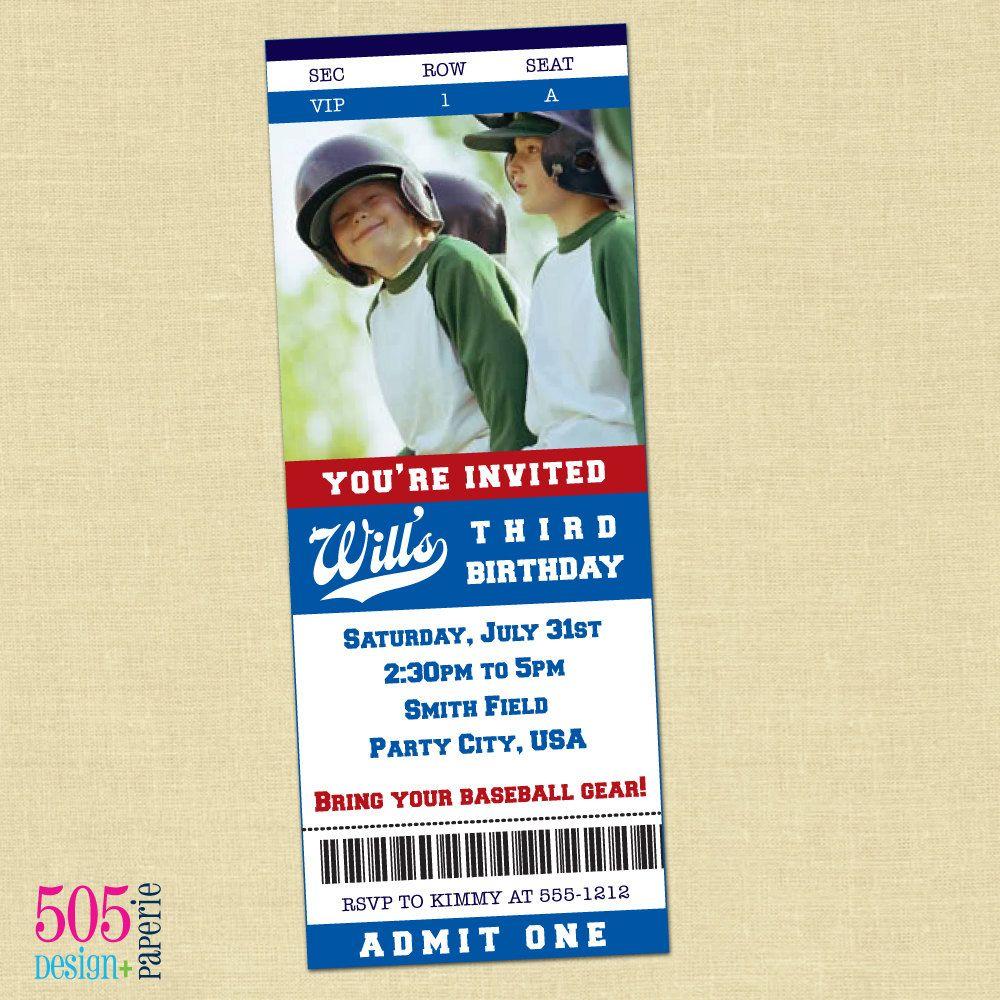 Baseball Ticket Invitation  Printable Baseball Party by 505design, $12.50