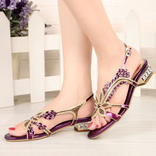 Crystal Beading Buckle Slingbacks Low Heel Shoes (1625399878) is part of Shoes - Rubber Women's Crystal Beading Buckle Black Purple Neutral Gold Black Purple Summer Honeymoon PU PU Low Heel Under 1 inch 0 98 inch (2 5cm) Sandals Slingbacks 35 36 37 38 39 40 41 42 43 Shoes
