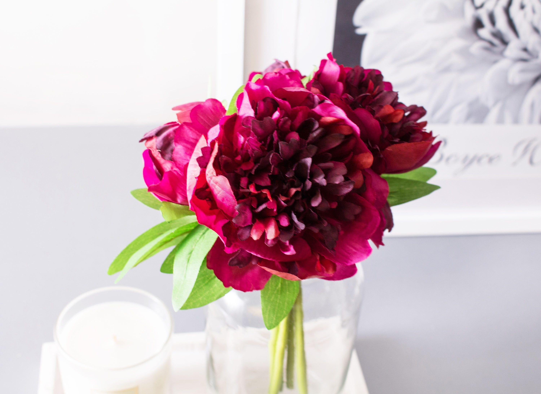 5pcs Purplish Red Peony Peonies Silk Flowers Silk Flower Artificial