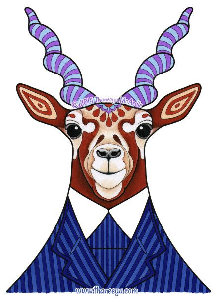 Hipster Antelope Coloring Page From Thaneeya McArdles Dapper Animals Book