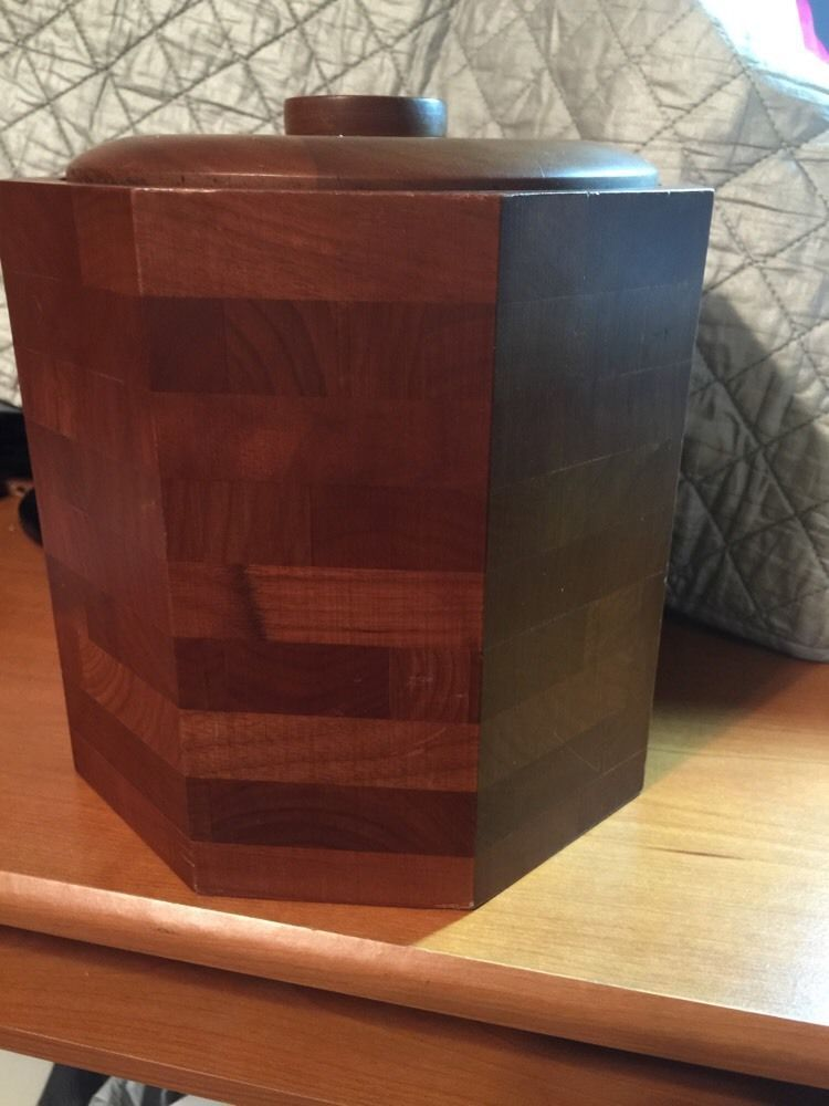 ART Retro Wood Ice Bucket KUSTOM KRAFT BLACK WALNUT MID CENTURY MODERN  OCTAGON