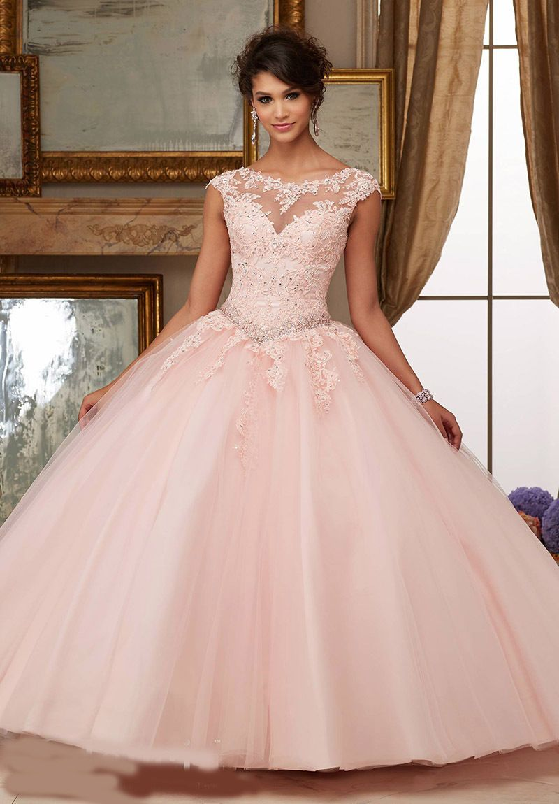 Hot sale sexy open back pink quinceanera dresses tulle long lace