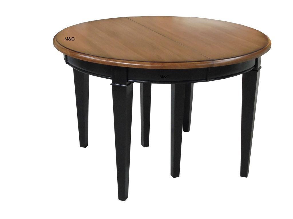 Table ronde 3 allonges ch ne massif directoire table for Table ronde chene massif avec allonges