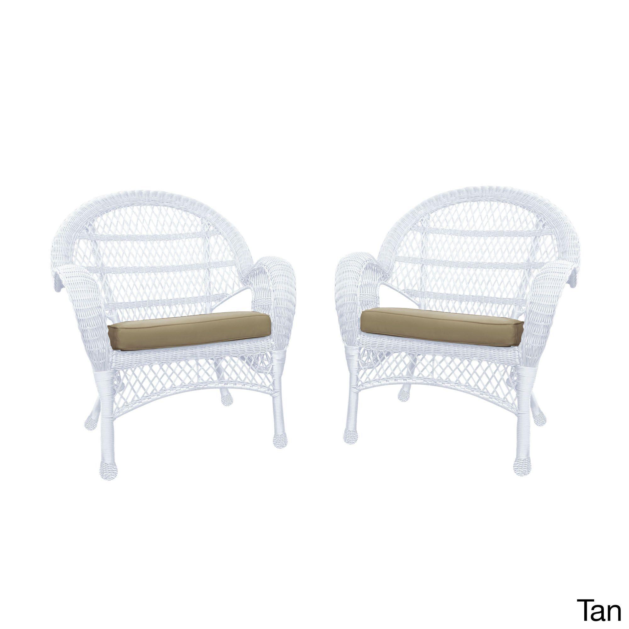 jeco santa maria white rocker wicker chair with cushion set of 4