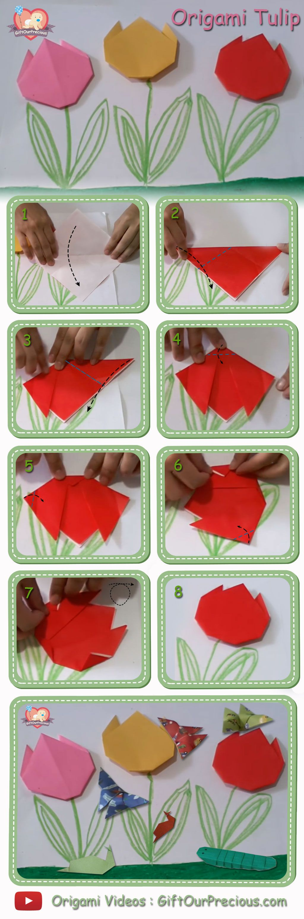 Origami Tulip Flowers Step By Step Instruction Pinterest Tulips