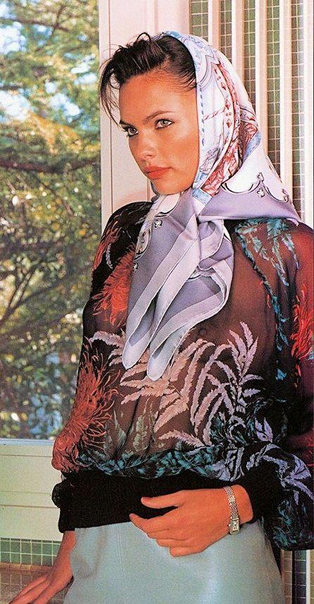 Hermes silk head scarf, tied under chin   silk head scarfs ...