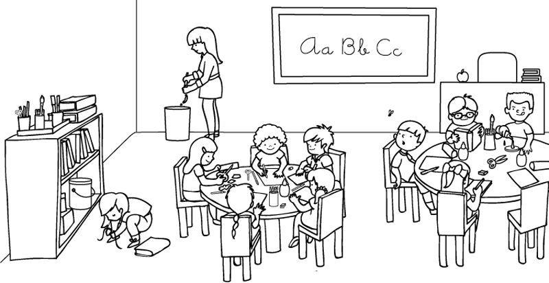 19795-4-ninos-en-clase-dibujo-para-colorear-e-imprimir.jpg (800×412 ...