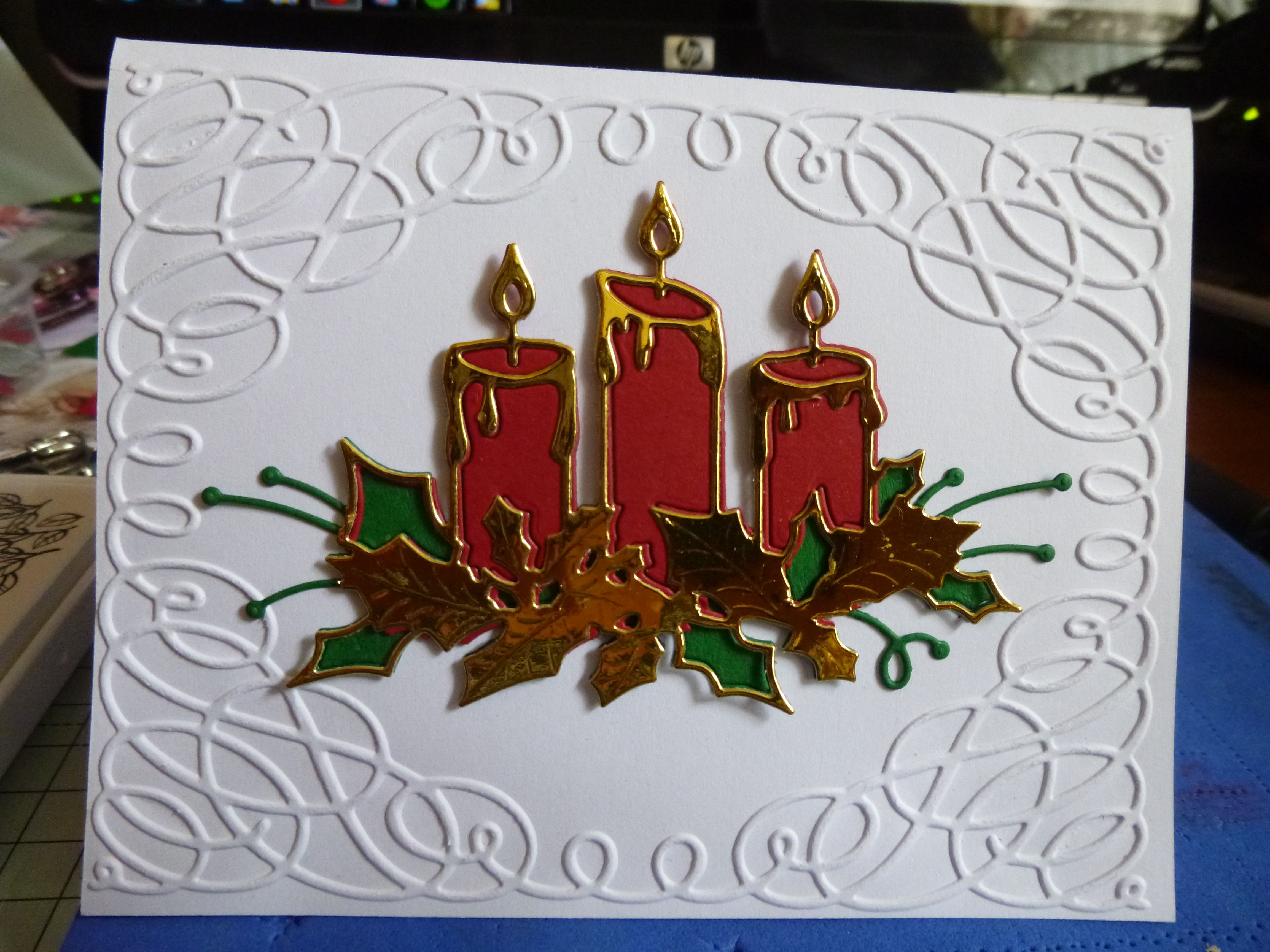 Gift in One Blank Insert Page Merry Christmas Leadlight Gift Card Stained Glass 13d Candle Mobile Attached to Card