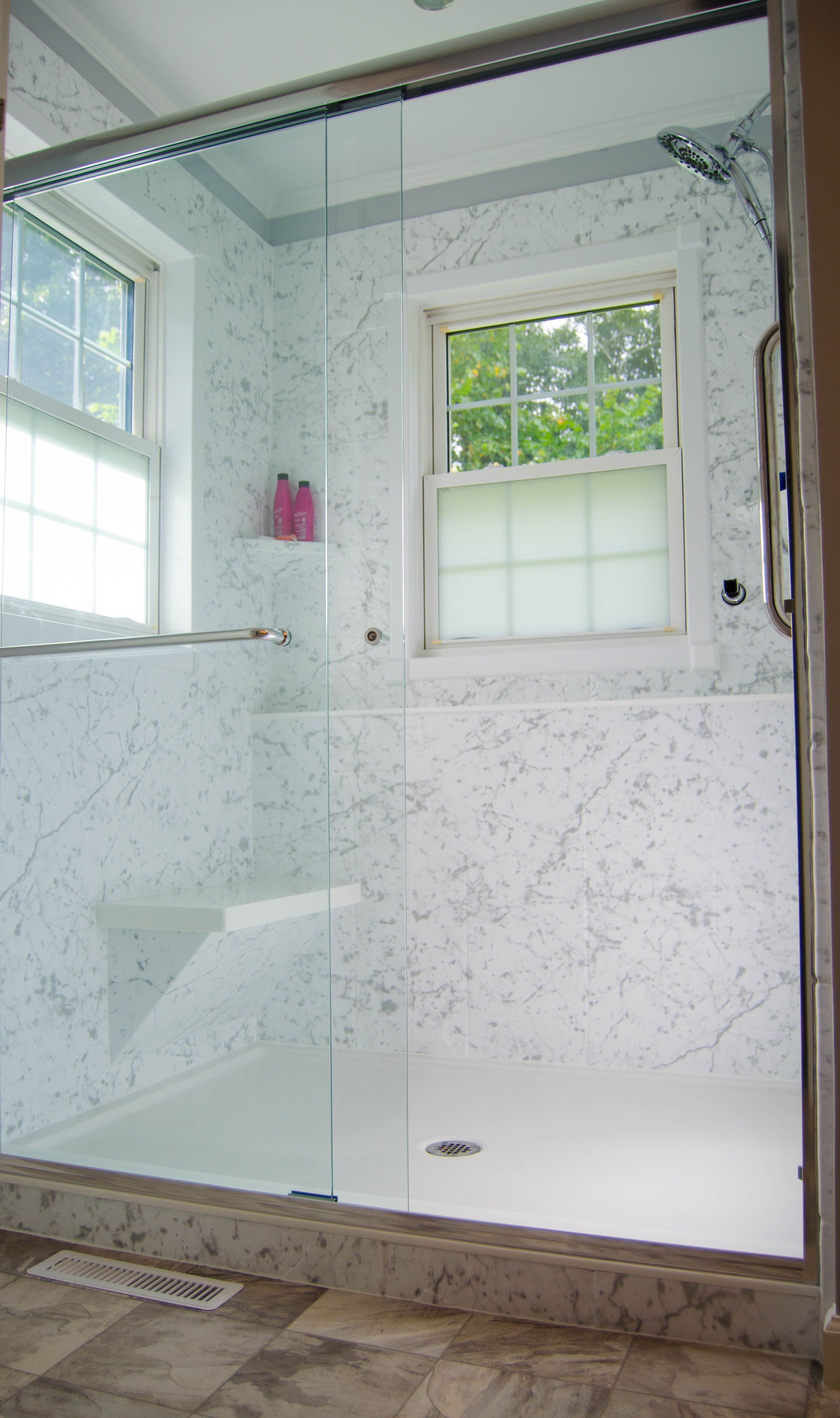 Check Out This Faux Marble Walk In Shower  With Grab Bar, Shower Seat,