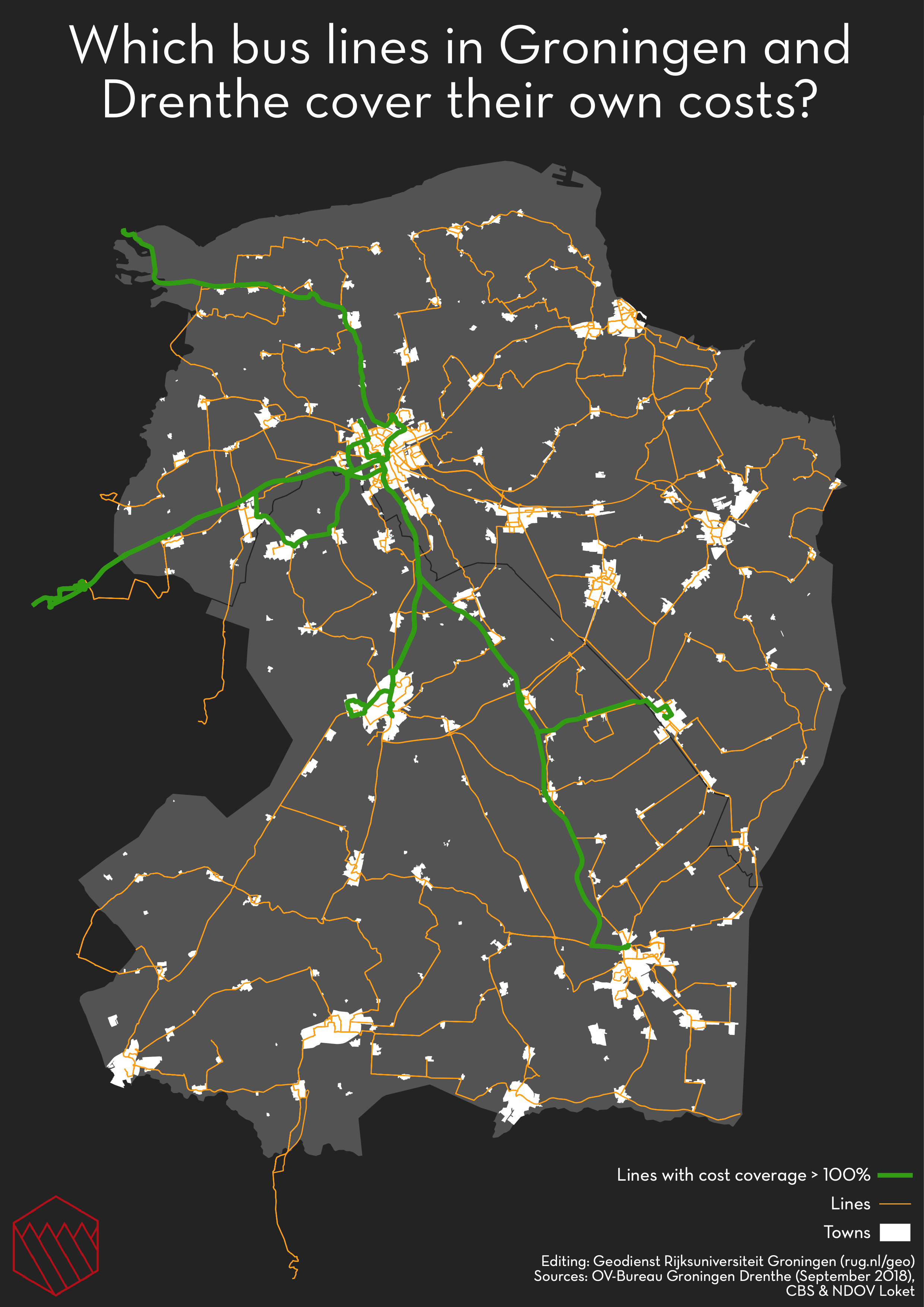 Bus Cost Coverage For The Provinces Of Groningen And Drenthe In The Netherlands Oc Groningen The Province Netherlands