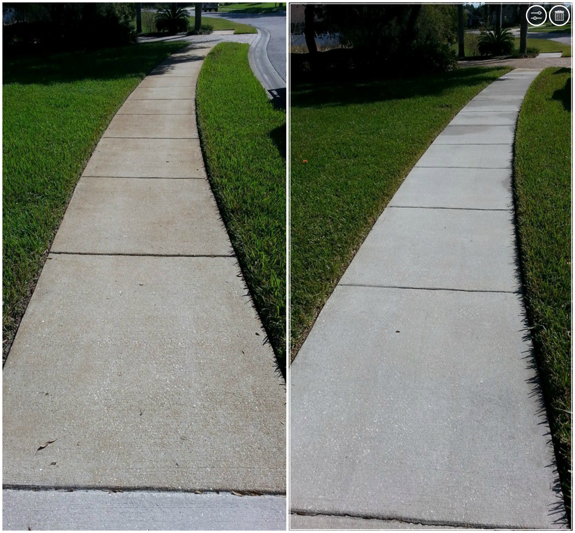 Before And After Of A Rust Stained Sidewalk Iron