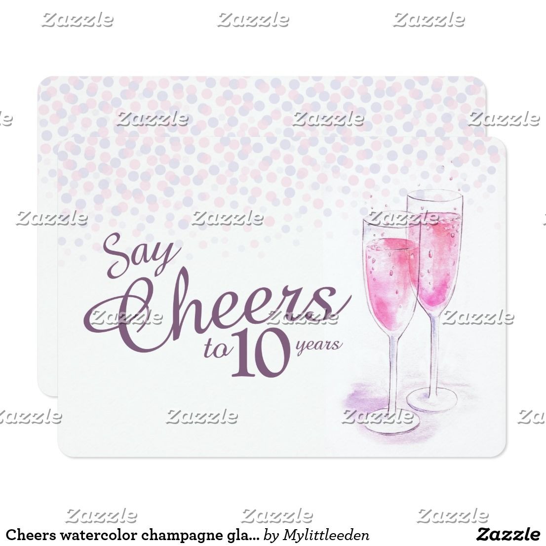 Cheers watercolor champagne glasses anniversary card | Anniversary ...