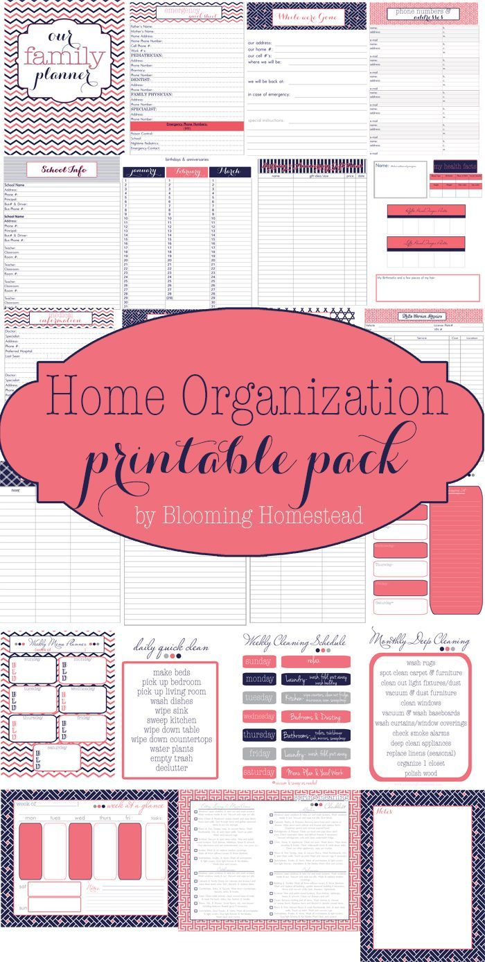 Awesome collection of Free printables to get you organized. Includes contacts, health info, meal planning, shopping lists, cleaning schedules and more! Also comes in 2 cute color/design schemes.