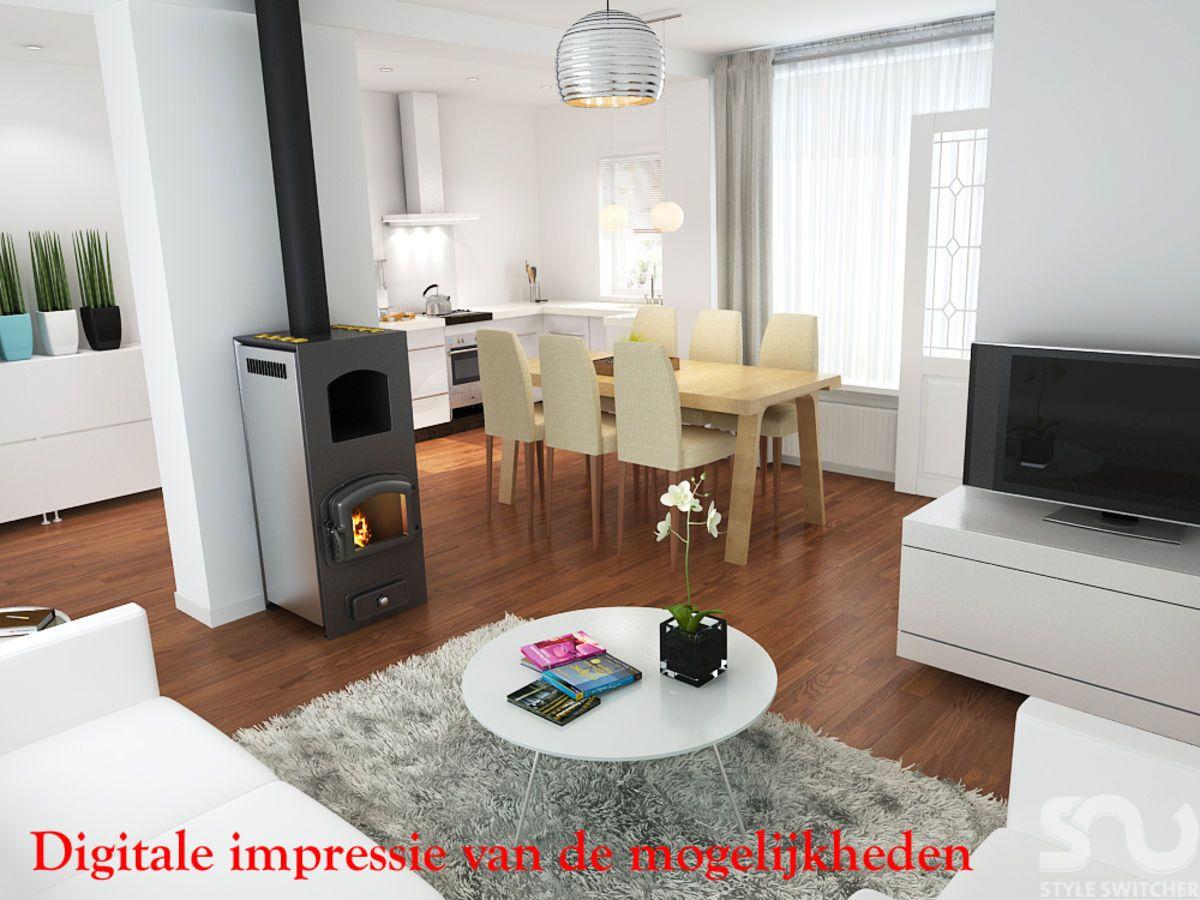 Digitale impressie van de woonkamer op de Rijnlaan 24 in Helmond ...