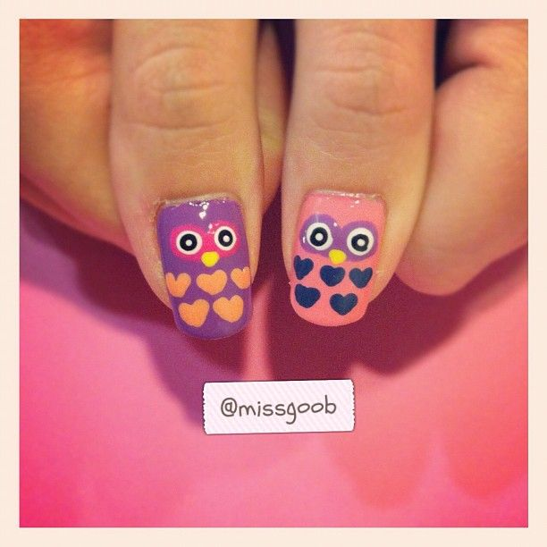 Cute owl nails....Dana stick a straight pin into a pencil eraser. Use flat end dipped into paint or polish to make eye dots.