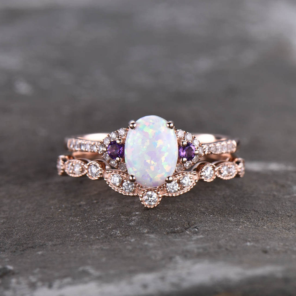 Oval Opal Diamond Engagement Ring Rose Gold Art Deco Amethyst Ring In 2020 Opal Diamond Engagement Ring Rose Engagement Ring Engagement Rings Opal