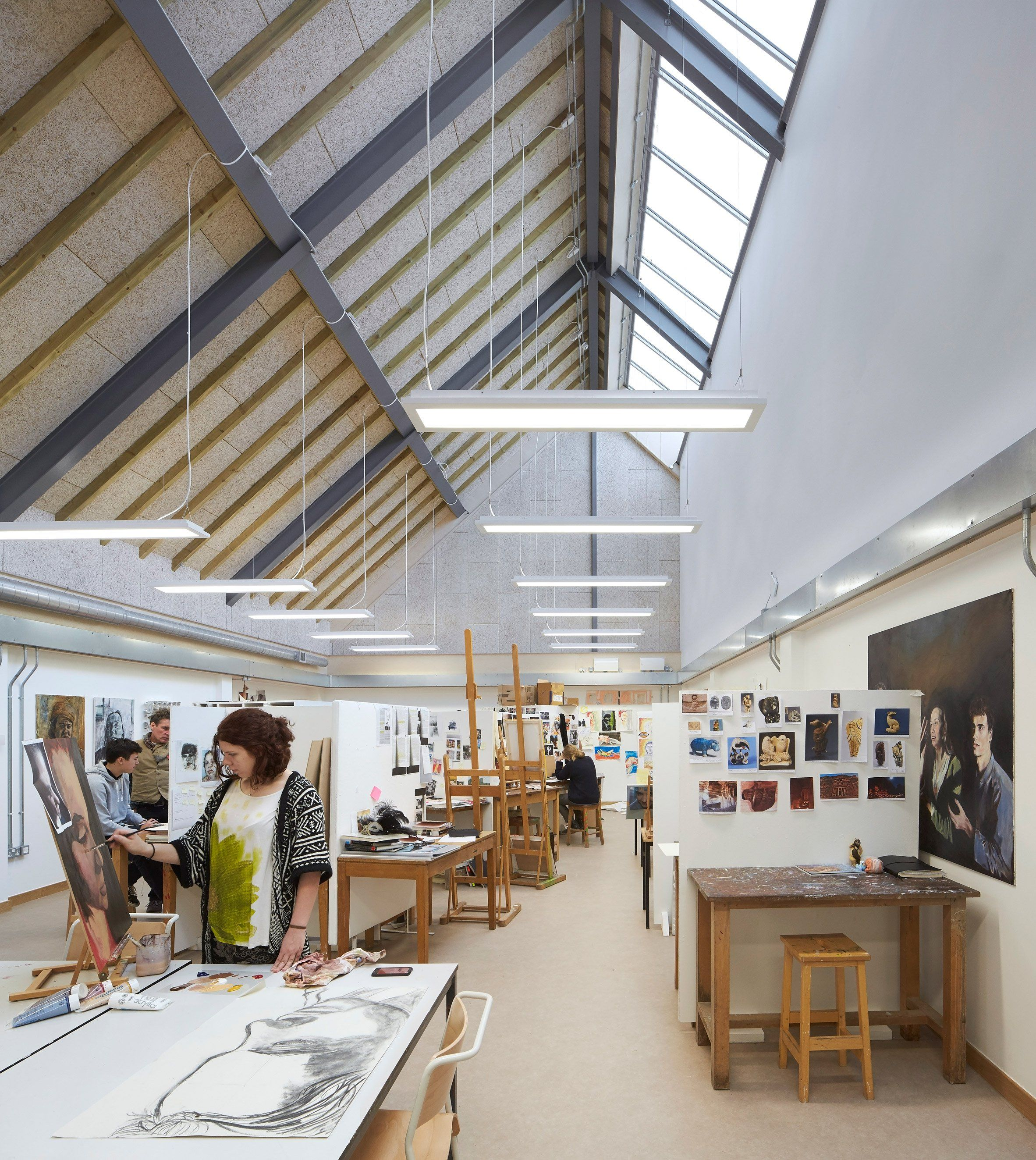 A Row Of Pitched Roof Buildings Make Up Feilden Clegg Bradley Studios Art And Design Building Art Studio Design Classroom Architecture Education Architecture