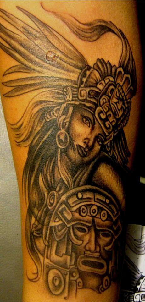 Aztec Warrior Female Tattoo Aztec Tattoo Designs Tattoos