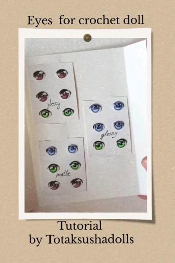 Painted doll eyes, Crochet doll pattern, 14 exampl