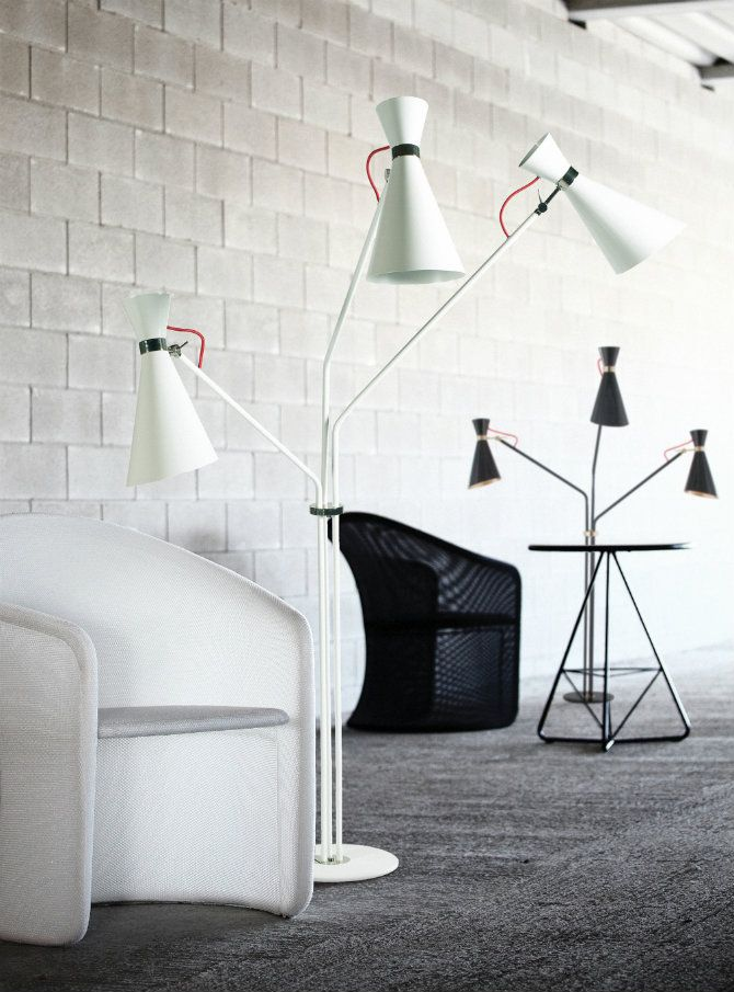 Industrial design icons floor lamps and brick walls