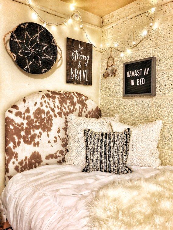 Dorm Room Headboards: Upholstered In Beige Cow Hide