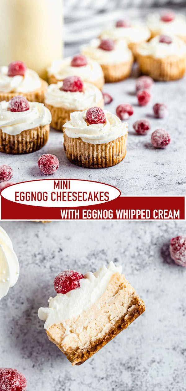 Mini Eggnog Cheesecakes Recipe | Queenslee Appétit #eggnogcheesecake