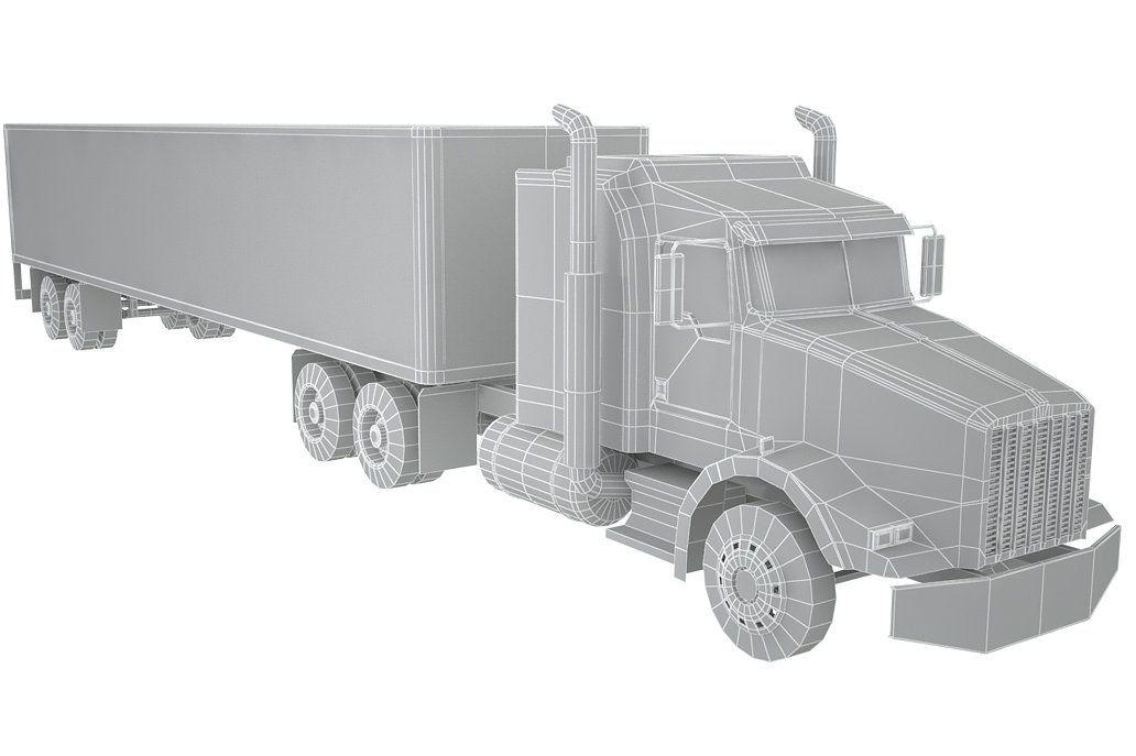 Kenworth Semi Truck Low Polygon Semi Trucks Kenworth Semi Trailer Truck