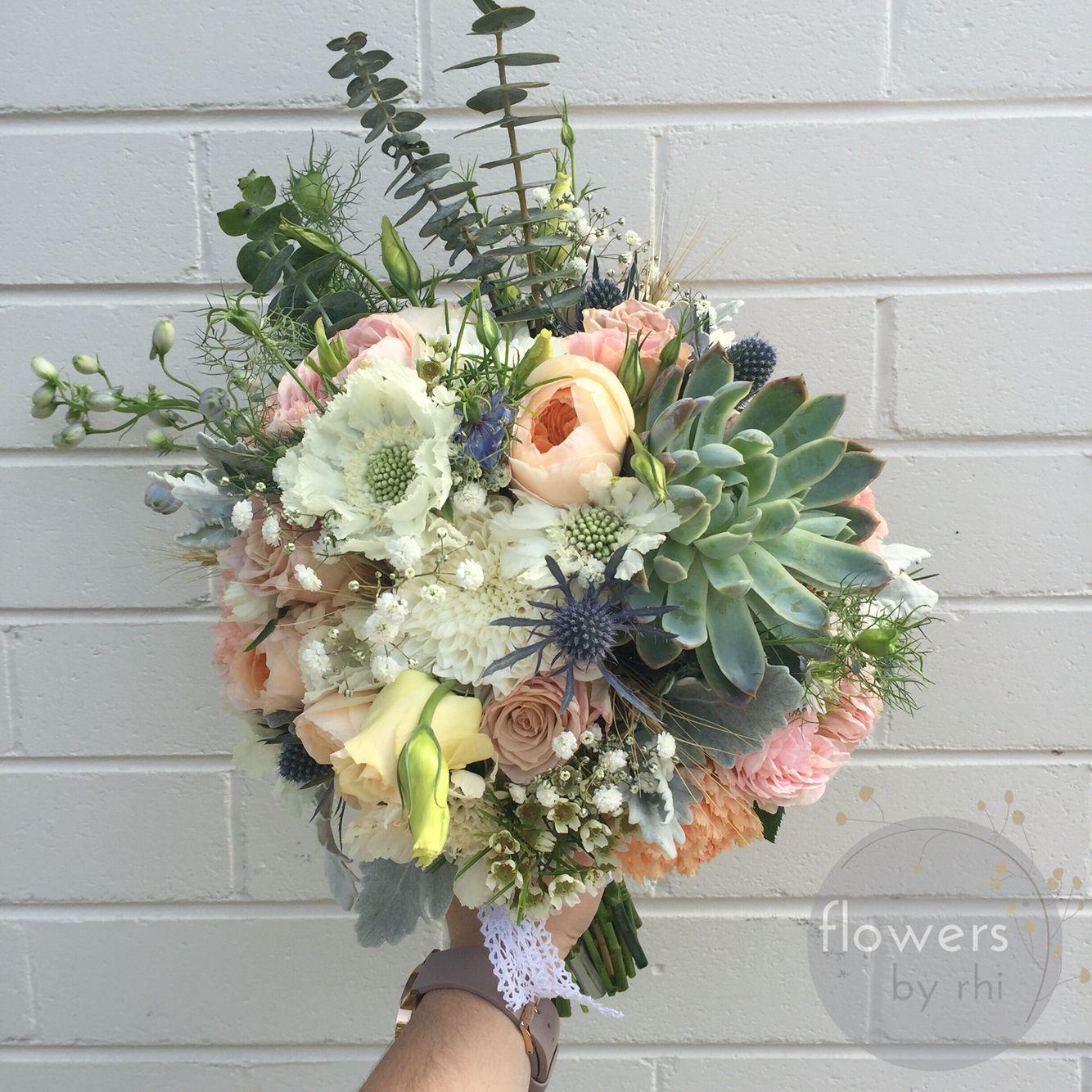 Seasonal Wedding Bouquet, succulents, David Austin roses