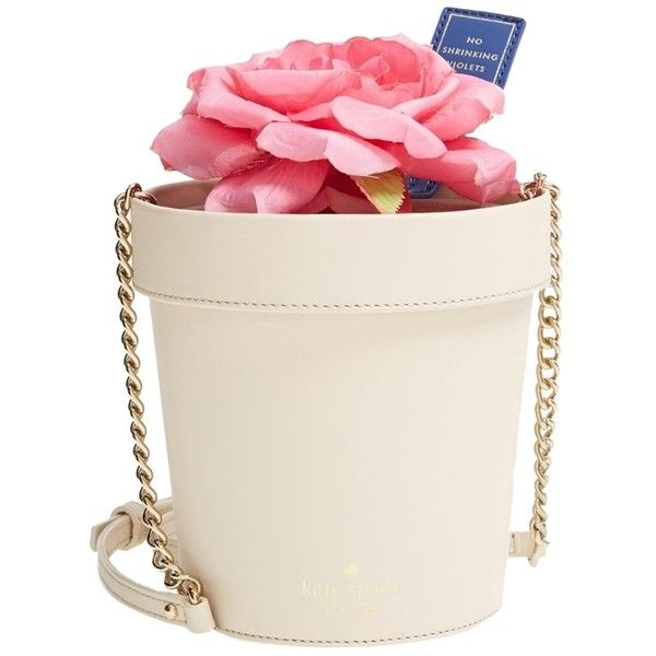 Pre-owned Kate Spade New York Spring Forward Flower Pot Flowerpot... (1.005.475 COP) ❤ liked on Polyvore featuring bags, handbags, clutches, bone, pink purse, leather hand bags, pink leather handbags, man bag and kate spade crossbody