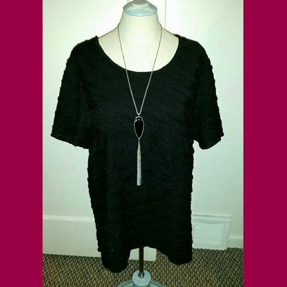 Cj Banks Top only- black shimmery short sleeve top size 1x, with ruffles CJ Banks Tops Tees - Short Sleeve