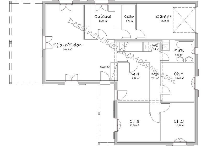 Plans De Maisons Individuelles Avec Etage Ou Combles Amenages Plan Maison Maison En V Plan Maison 4 Chambres