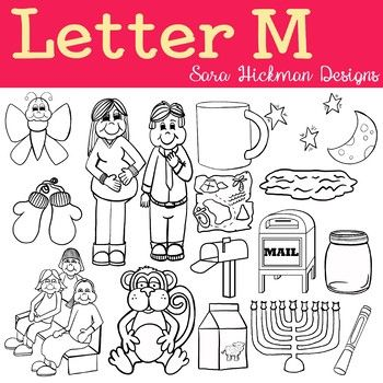 Chubby Cheek Clipart Letter M Black And White Only Sara